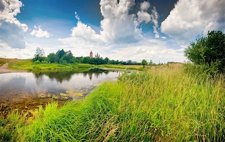scope - Summer panoramic landscape with river and church Stock Photo - Budget Royalty-Free & Subscription, Code: 400-05878031