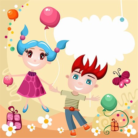 vector illustration of cute children Stock Photo - Budget Royalty-Free & Subscription, Code: 400-05879646