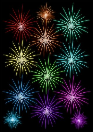 fireworks illustrations - set of colored fireworks on black background vector illustration Stock Photo - Budget Royalty-Free & Subscription, Code: 400-05884348