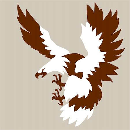 simsearch:400-04399778,k - eagle drawing on brown background, vector illustration Stock Photo - Budget Royalty-Free & Subscription, Code: 400-05884422