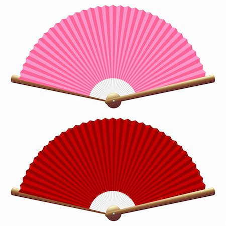 scalable - Pink and red folding fan isolated over white Stock Photo - Budget Royalty-Free & Subscription, Code: 400-05884454
