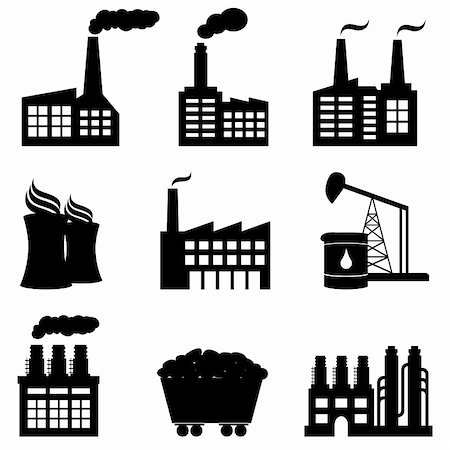 soleilc (artist) - Factory, oil drilling, nuclear power plant and energy icons Stock Photo - Budget Royalty-Free & Subscription, Code: 400-05884514
