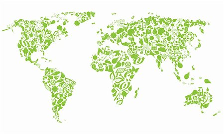 World map made of eco icons Stock Photo - Budget Royalty-Free & Subscription, Code: 400-05884513