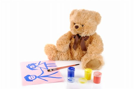 simsearch:400-04598294,k - Teddy bear painting colors isolated on white Stock Photo - Budget Royalty-Free & Subscription, Code: 400-05884694