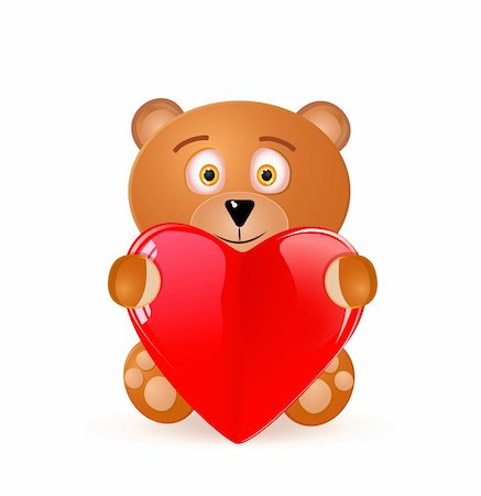 simsearch:400-04598294,k - Icon of Bear Toy With Red Heart Isolated on White Background. Vector illustration on valentine's day. Stock Photo - Budget Royalty-Free & Subscription, Code: 400-05885138