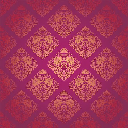 Seamless damask pattern. Flowers on a red background. EPS 10 Stock Photo - Budget Royalty-Free & Subscription, Code: 400-05885208