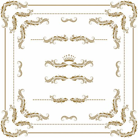 Vector set of decorative horizontal elements, border and frame. Basic elements are grouped. Stock Photo - Budget Royalty-Free & Subscription, Code: 400-05885211