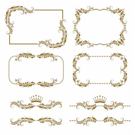 Vector set of decorative horizontal elements, border and frame. Basic elements are grouped. Stock Photo - Budget Royalty-Free & Subscription, Code: 400-05885212