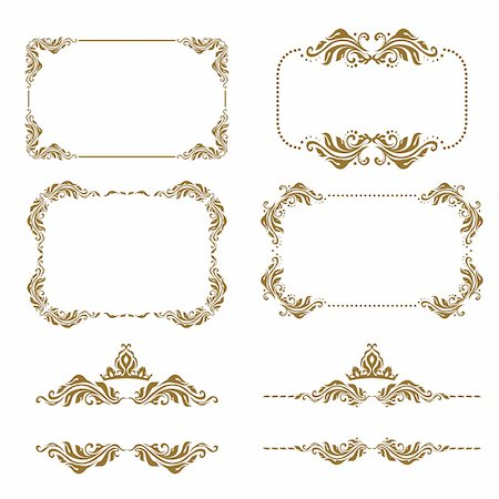 Vector set of decorative horizontal elements, border and frame. Basic elements are grouped. Stock Photo - Budget Royalty-Free & Subscription, Code: 400-05885213
