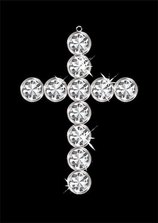 Silver diamond cross relgious pendant with black background Stock Photo - Budget Royalty-Free & Subscription, Code: 400-05885658