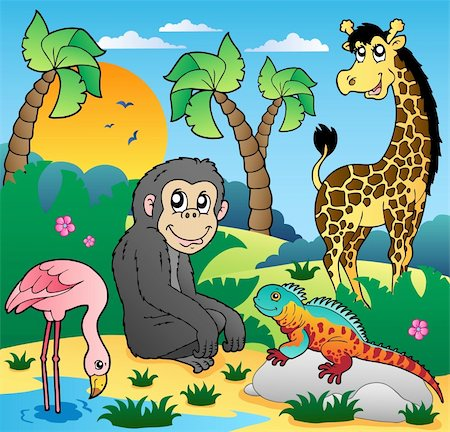 smiling chimpanzee - African scenery with animals 5 - vector illustration. Stock Photo - Budget Royalty-Free & Subscription, Code: 400-05885684