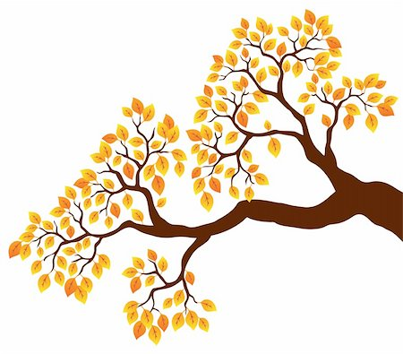 Tree branch with orange leaves 1 - vector illustration. Stock Photo - Budget Royalty-Free & Subscription, Code: 400-05885714