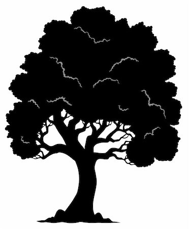 Tree shaped silhouette 1 - vector illustration. Stock Photo - Budget Royalty-Free & Subscription, Code: 400-05885715