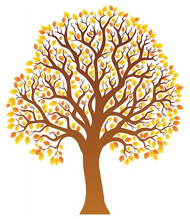 Tree with orange leaves 1 - vector illustration. Stock Photo - Budget Royalty-Free & Subscription, Code: 400-05885719