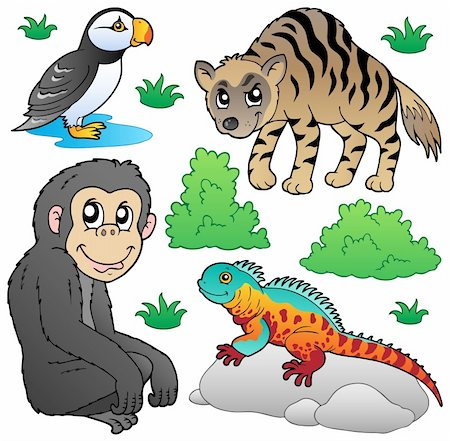 smiling chimpanzee - Zoo animals set 2 - vector illustration. Stock Photo - Budget Royalty-Free & Subscription, Code: 400-05885725