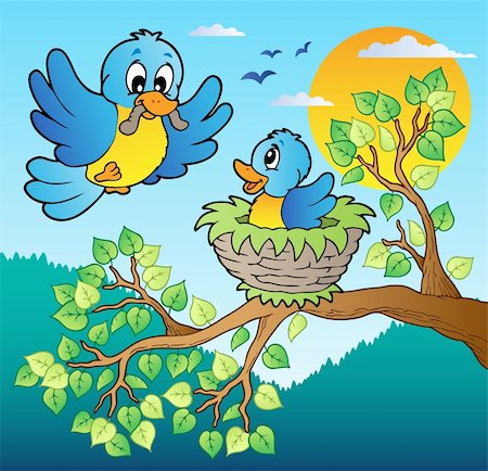 Two blue birds with tree branch - vector illustration. Stock Photo - Budget Royalty-Free & Subscription, Code: 400-05885721