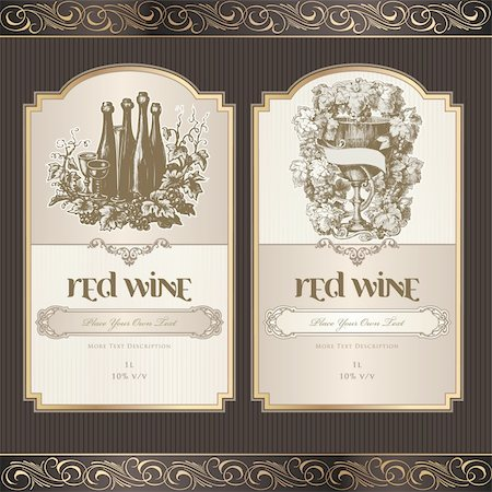 Vector illustration - set of wine label templates Stock Photo - Budget Royalty-Free & Subscription, Code: 400-05885755