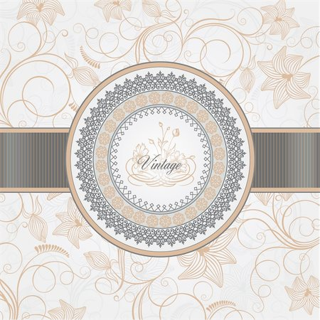 Vector illustration - vintage background for invitation, greeting card, wedding card, packaging, print materials Stock Photo - Budget Royalty-Free & Subscription, Code: 400-05885759