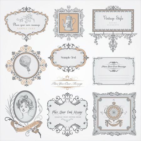 Collection of different vintage labels and stickers Stock Photo - Budget Royalty-Free & Subscription, Code: 400-05885761