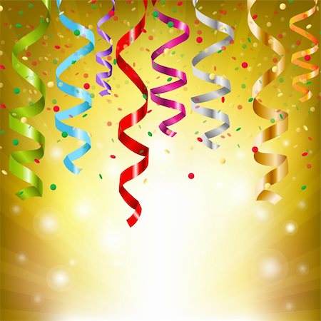 fun happy colorful background images - Party Streamers, Vector Illustration Stock Photo - Budget Royalty-Free & Subscription, Code: 400-05885904