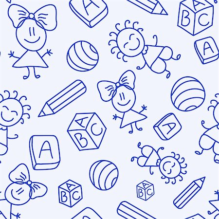 Hand drawn seamless pattern with kids, books and pencils. Vector illustration Stock Photo - Budget Royalty-Free & Subscription, Code: 400-05885919