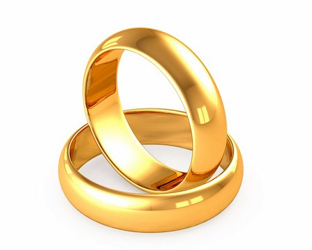 3d wedding gold rings on white background Stock Photo - Budget Royalty-Free & Subscription, Code: 400-05886039