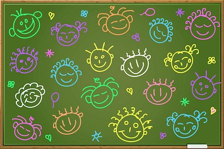 Green Blackboard with Cartoon Face Sihouettes. Vector Illutration Stock Photo - Budget Royalty-Free & Subscription, Code: 400-05886540