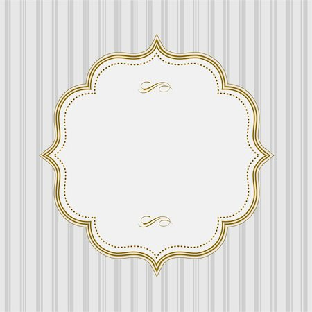 Vector Lined Pattern and Gold Frame. Easy to edit. Perfect for invitations or announcements. Stock Photo - Budget Royalty-Free & Subscription, Code: 400-05886856