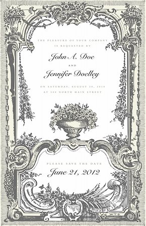 Vector Victorian Two Part Frame. Easy to edit. Perfect for invitations or announcements. Stock Photo - Budget Royalty-Free & Subscription, Code: 400-05886861