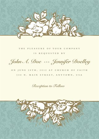 Vector Vintage Rose Frame and Background. Easy to edit. Perfect for invitations or announcements. Stock Photo - Budget Royalty-Free & Subscription, Code: 400-05886862