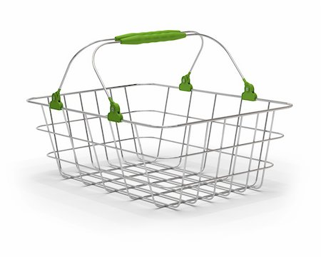 empty shopping cart - empty green metal basket over a white background Stock Photo - Budget Royalty-Free & Subscription, Code: 400-05886915