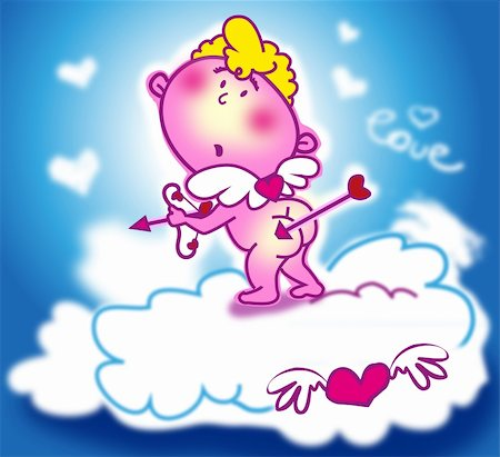 simsearch:400-04863562,k - cupid with bow and arrows and hearts over clouds Stock Photo - Budget Royalty-Free & Subscription, Code: 400-05887182