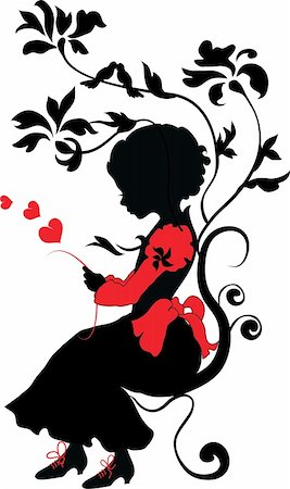pretty in black clipart - Silhouette girl with love letter valentine illustration Stock Photo - Budget Royalty-Free & Subscription, Code: 400-05887736