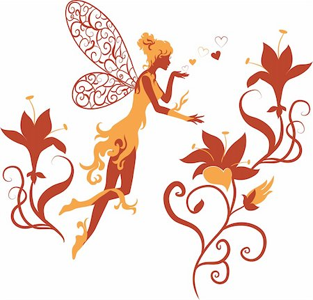 flying heart girl - Fairy silhouette isolated on white background with flowers Stock Photo - Budget Royalty-Free & Subscription, Code: 400-05887739