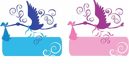 Stork and baby for girl and boy silhouettes Stock Photo - Budget Royalty-Free & Subscription, Code: 400-05887730
