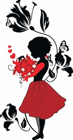 pretty in black clipart - Silhouette little girl with lovely bouquet valentine illustration Stock Photo - Budget Royalty-Free & Subscription, Code: 400-05887733