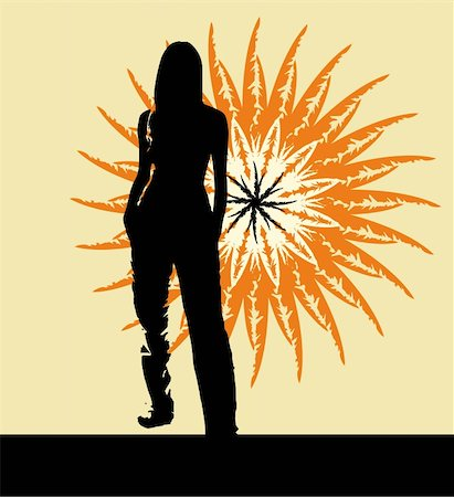 Silhouette of the girl standing on a background of the sun Stock Photo - Budget Royalty-Free & Subscription, Code: 400-05888087