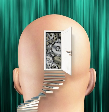 rolffimages (artist) - Doorway opens to gears in mind Stock Photo - Budget Royalty-Free & Subscription, Code: 400-05888382