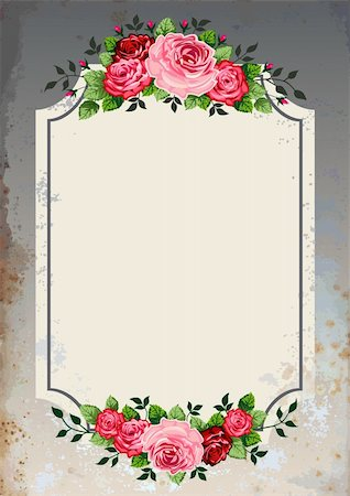 Vintage roses vector illustration on grunge background. Objects are grouped and can be rearranged to change the look or color Stock Photo - Budget Royalty-Free & Subscription, Code: 400-05888450