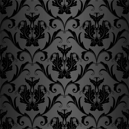 seamless black floral abstract wallpaper pattern background Stock Photo - Budget Royalty-Free & Subscription, Code: 400-05888568