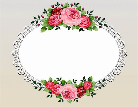 simsearch:400-04872199,k - Vintage roses bouquet vector illustration with lace frame and space for your text or design, invitation template Stock Photo - Budget Royalty-Free & Subscription, Code: 400-05888640