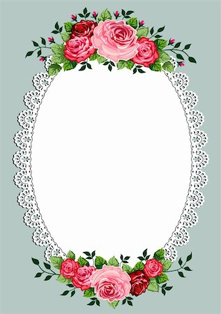 Vintage roses oval frame with space for your text or design, invitation template Stock Photo - Budget Royalty-Free & Subscription, Code: 400-05888653