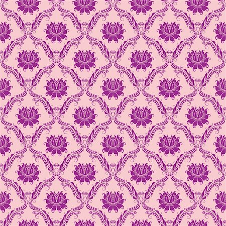 Seamless floral damask pattern. Flowers on a rose background. Stock Photo - Budget Royalty-Free & Subscription, Code: 400-05889249