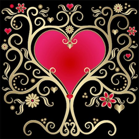 Gold valentines vintage frame with heart on black  background (vector) Stock Photo - Budget Royalty-Free & Subscription, Code: 400-05880443