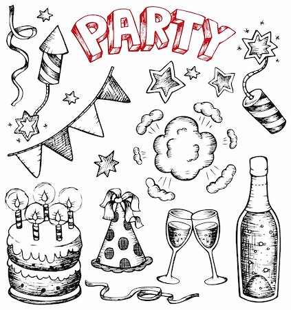 fireworks vector art - Party drawings collection 1 - vector illustration. Stock Photo - Budget Royalty-Free & Subscription, Code: 400-05880778