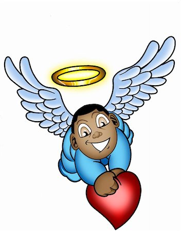 a cartoon illustration of a little baby angel holding a heart with a halo over his head Stock Photo - Budget Royalty-Free & Subscription, Code: 400-05881713