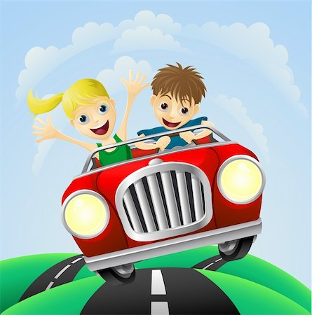 Young man and woman having fun driving their car on a road trip. Stock Photo - Budget Royalty-Free & Subscription, Code: 400-05882120