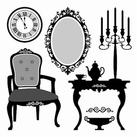 elakwasniewski (artist) - Set of antique decorative furniture and objects, vector illustration Stock Photo - Budget Royalty-Free & Subscription, Code: 400-05882312