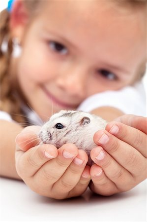 My little pal - girl holding her hamster in palms Stock Photo - Budget Royalty-Free & Subscription, Code: 400-05882556