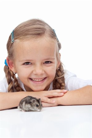 Little girl laughing and watching her hamster Stock Photo - Budget Royalty-Free & Subscription, Code: 400-05882558